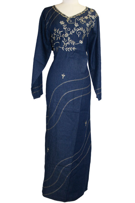 Denim Dress with Design Work