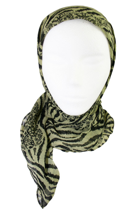 Green Square Hijab with Printed Design