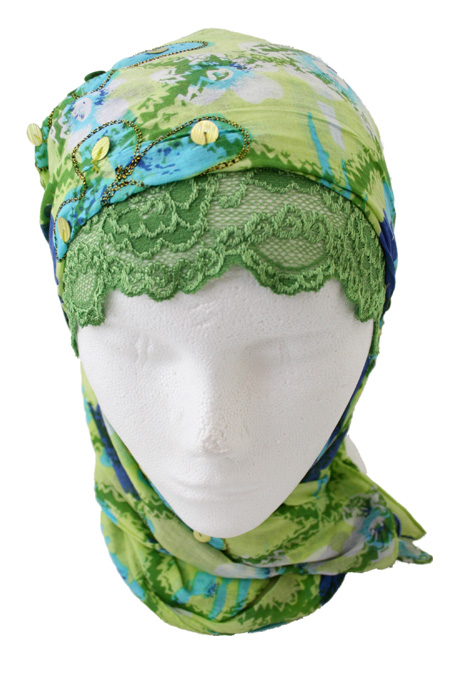 Blue & Green Hijab with Printed Design