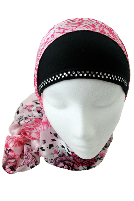 Pink and Black, 2 Piece Hijab