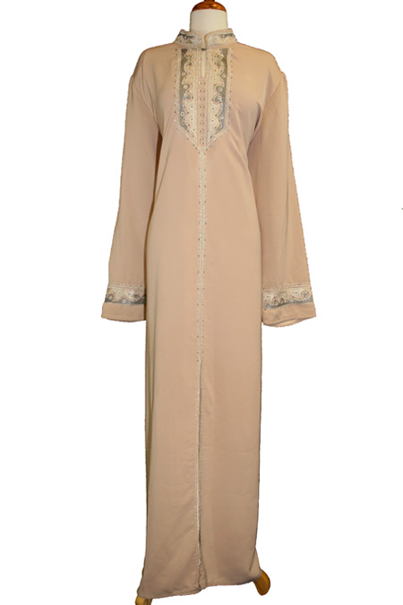 Cream Abaya with Embroidered Designs