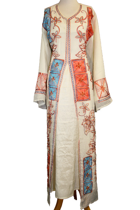Cream Fancy Dress with Blue & Red Embroidered