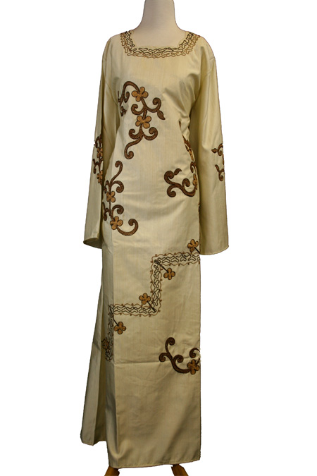 Cream Color Dishdashe with Embroidered Designs