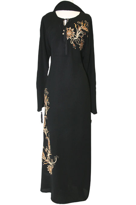 Black Abaya with Embroidery Work