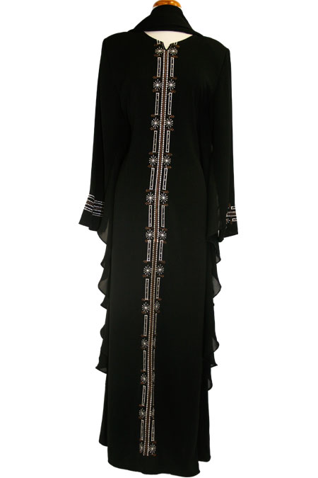 Black Abaya with Silver Work on Front