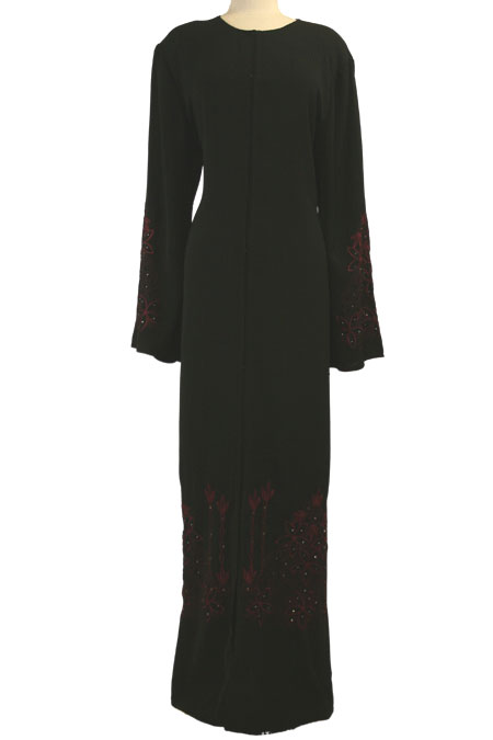 Black Open Abaya with Color Work