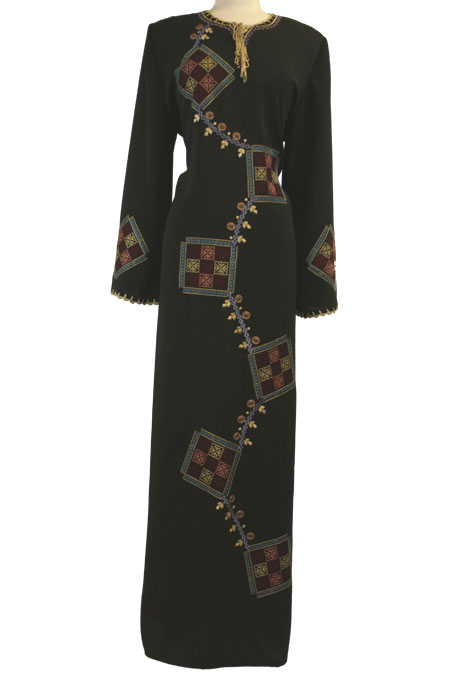 Black Abaya with Colored Work in Front
