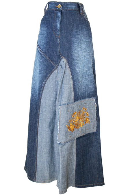 100% Cotton Denim Skirt with Embroidery Work