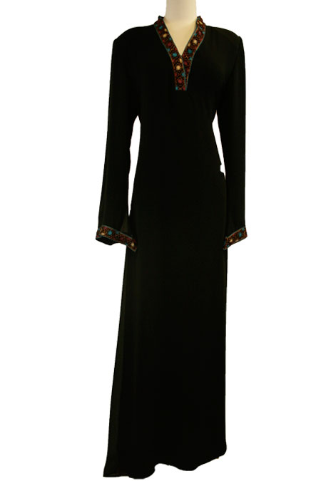 Black Abaya with Color Work on it