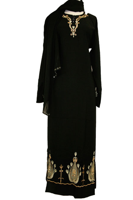 Black Abaya with Design Work