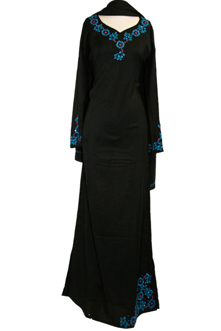 100% Cotton Color Abaya with Design Work