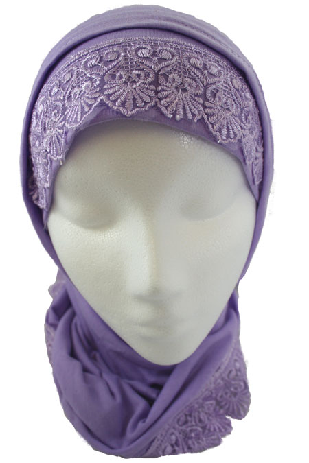 2 Piece Hijab 100% Cotton with Lace