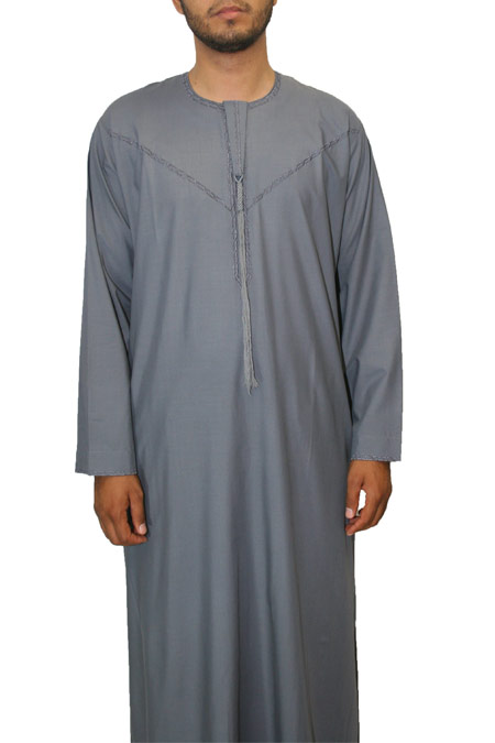 Dubai Style Mens Thowb with tie in the front