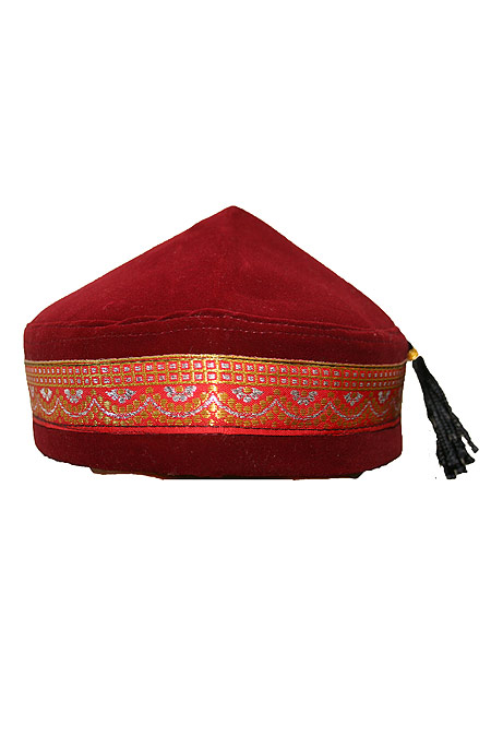 Velvet Hat / Kufi with String in the back - Very Dressy