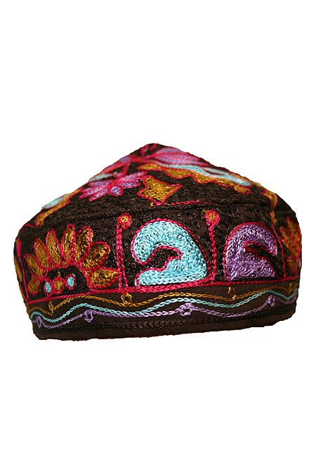 Hat with embroidery work all over it