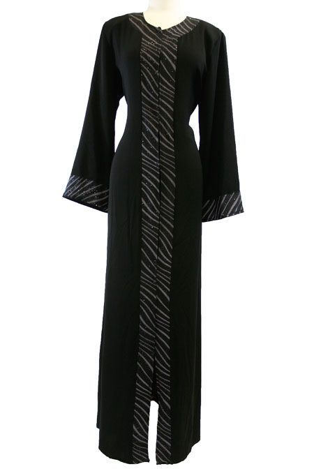 Open Black Abaya with Design Work in Front