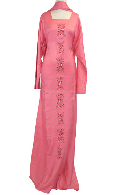 Color Abaya with Bead Work - 100% Cotton